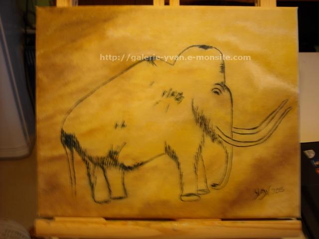 Peinture rupestre d'un mammouth, grotte de Rouffignac
